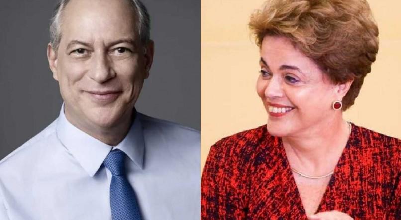 Ciro Gomes e Dilma trocam ofensas nas redes sociais Montagem: Reprodução