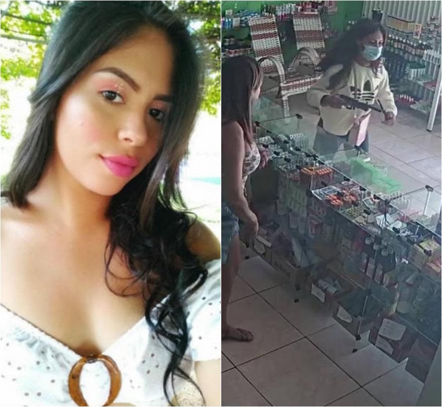 Jovem foi presa após ter sido flagrada por câmeras assaltando farmácia - Foto: Reprodução