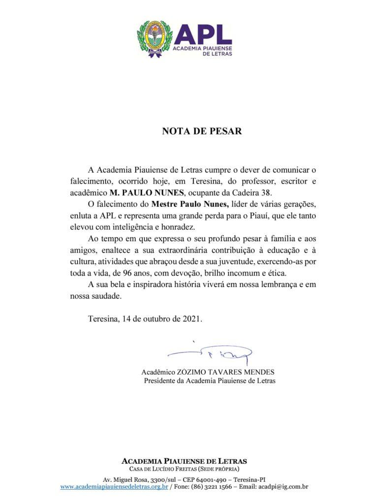 Nota divulgada pela Academia Piauiense de Letras nesta manhã