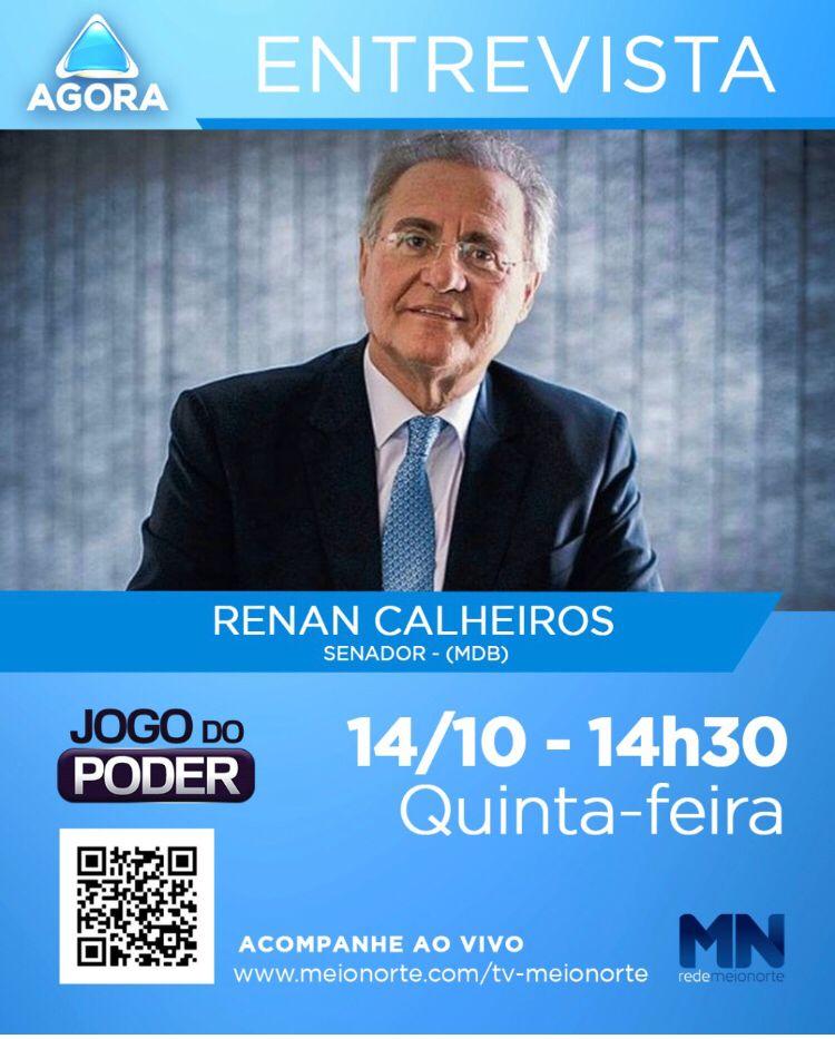 Senador Renan Calheiros concede entrevista para Rede Meio Norte