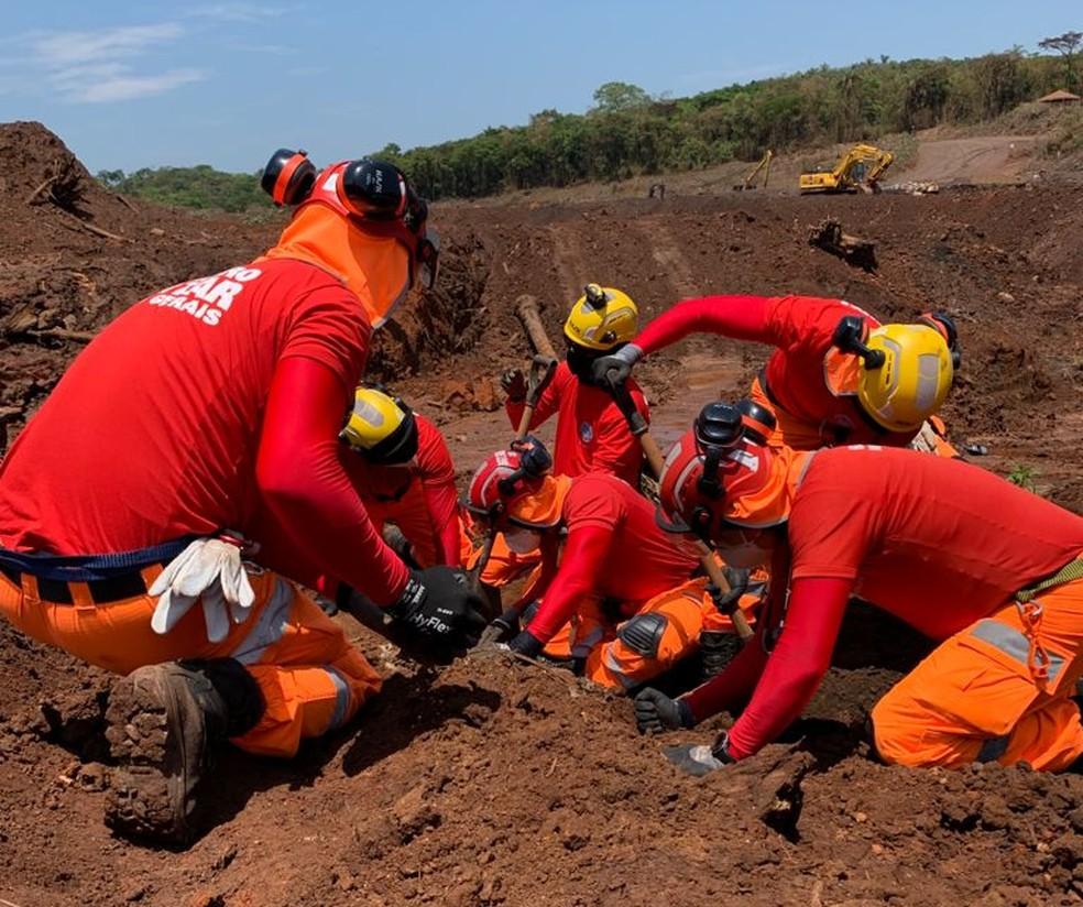 Bombeiros encontram corpo em Brumadinho (Foto: Corpo de Bombeiros / Divulgação)