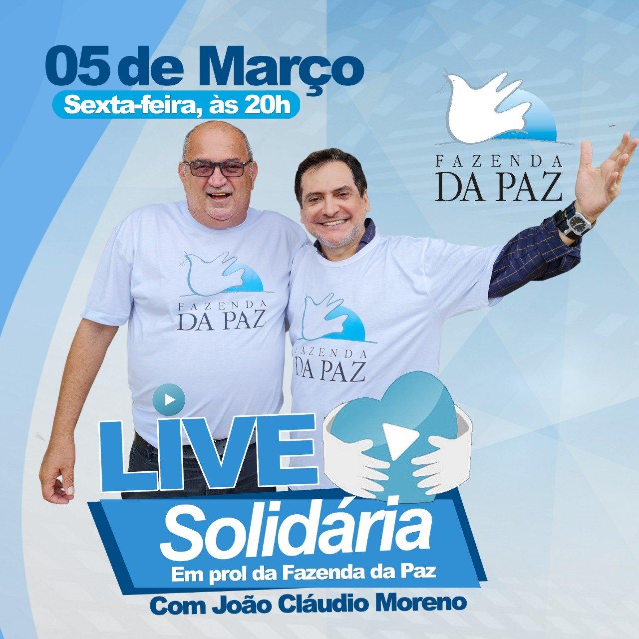 João Cláudio Moreno fará live solidária para ajudar Fazenda da Paz - Imagem 1