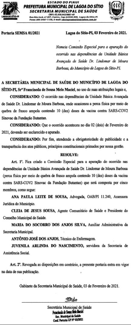 Comissão criada em Lagoa do Sítio