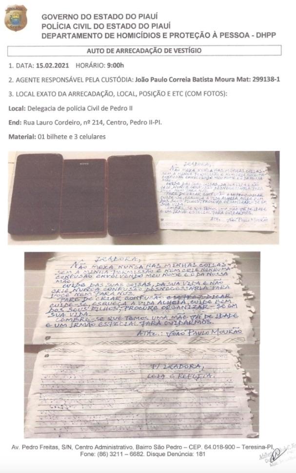 Bilhete deixado por João Paulo para Izadora Mourão