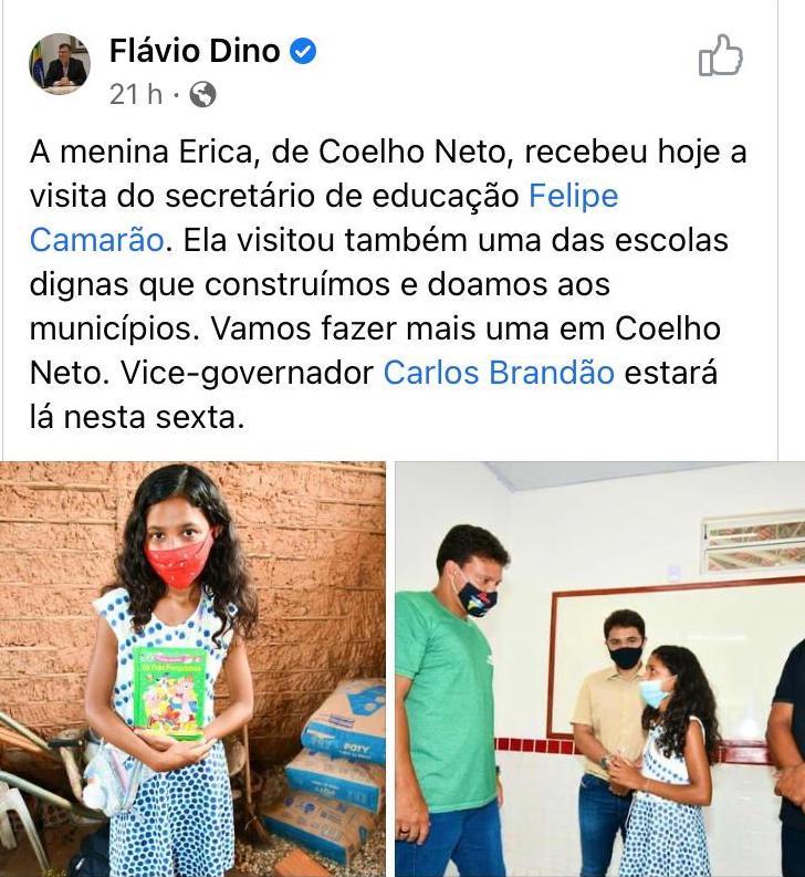 """Governo Flávio Dino abraça iniciativa da """"professorinha"""" Erica - Imagem 1"""