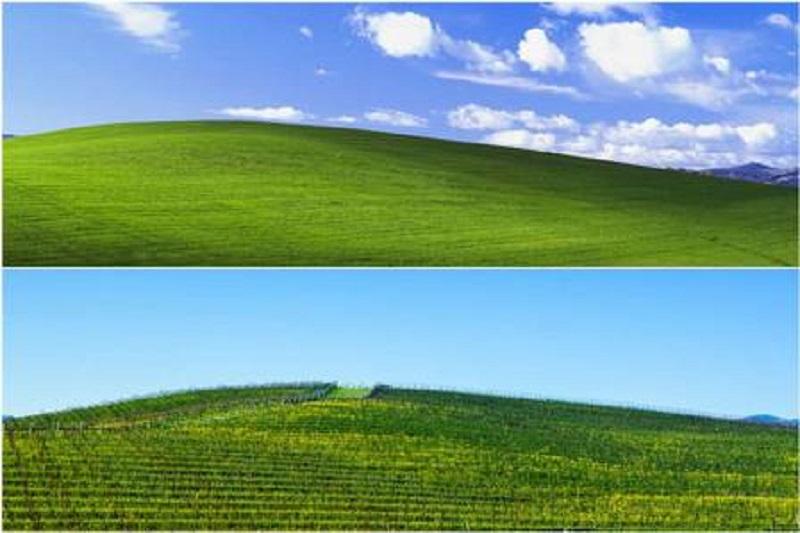 Local exato (abaixo) de icônico wallpaper do Windows XP Foto: Reprodução/SFGate