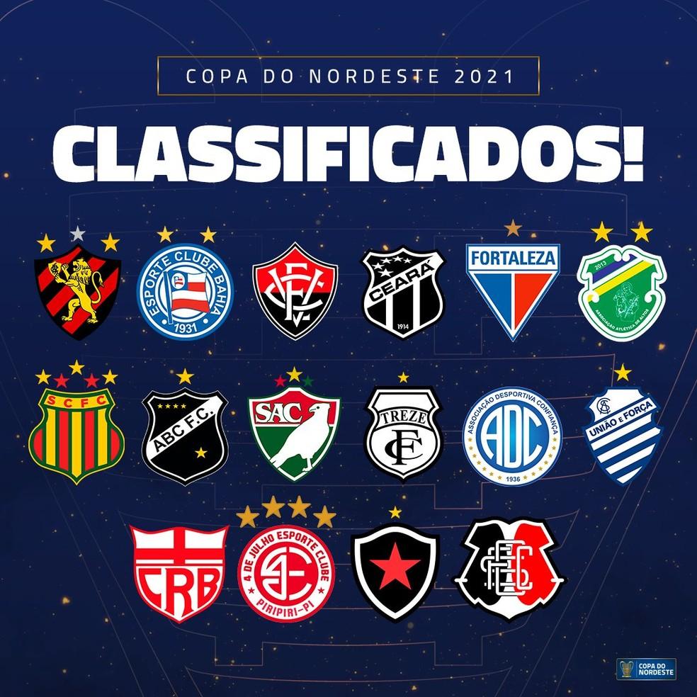 Todos os 16 classificados para Copa do NE-Foto:Divulgação