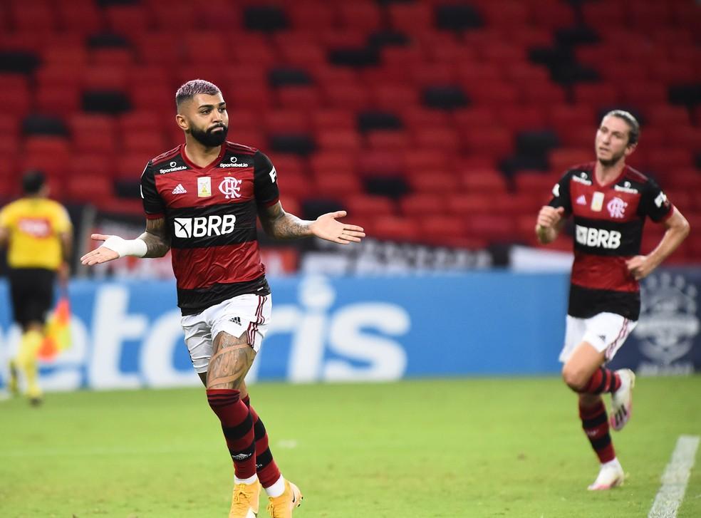 Gabigol comemora gol marcado no clássico contra o Vasco — Foto: André Durão / ge