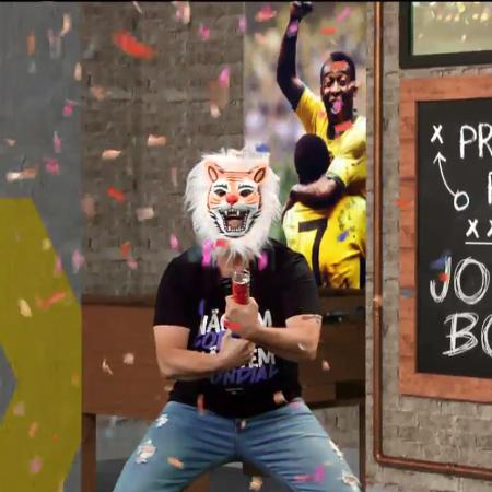 Neto usa máscara de tigre e comemora derrota do Palmeiras no Mundial