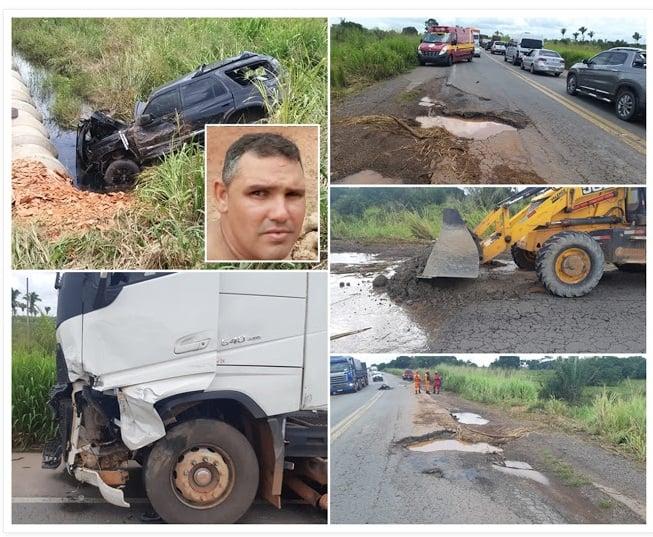 Empresário morreu após desviar de buraco e colidir em carreta