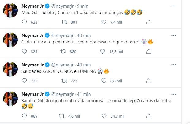 """Neymar compara Sarah e Gil com vida amorosa: """"Decepção atrás da outra"""" - Imagem 2"""