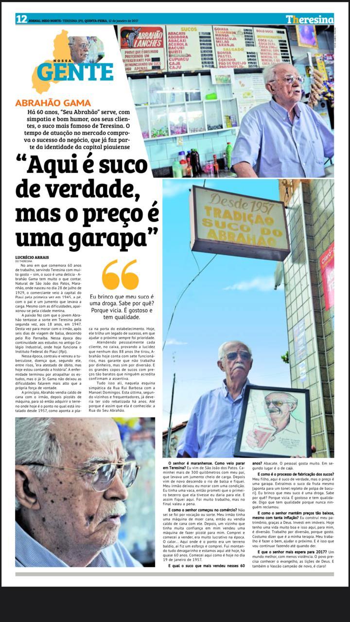 """Seu Abrahão """"do suco"""" morre aos 91 anos em Teresina - Imagem 2"""
