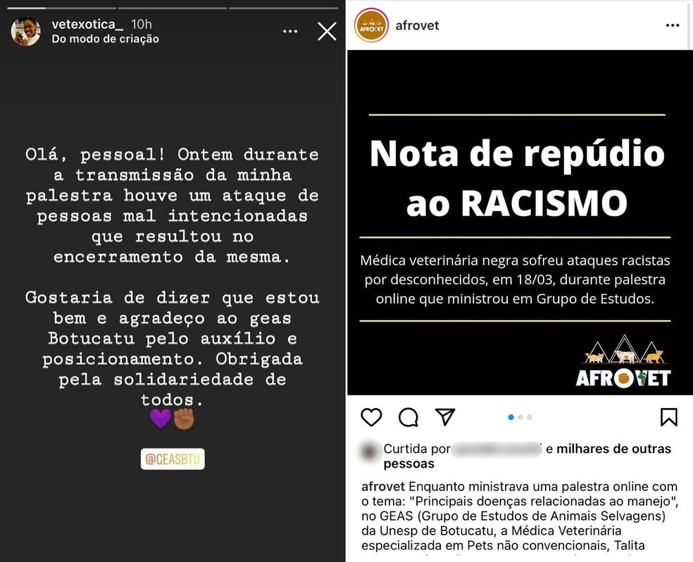 Afrovet emitiu nota de repúdio após ataque racista durante palestra em Botucatu — Foto: Instagram/Reprodução