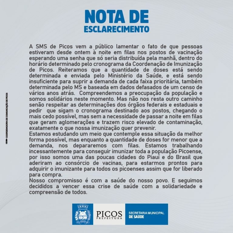 """Populares """"dormem"""" em filas para conseguir vacina em Picos; vídeos - Imagem 1"""