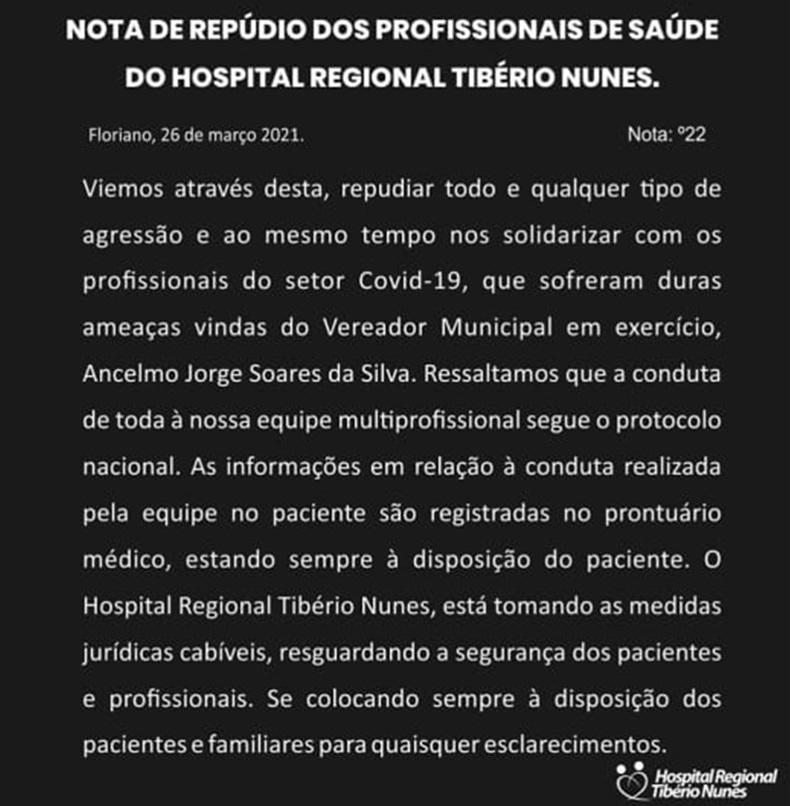 Nota de repúdio Hospital Regional Tibério Nunes