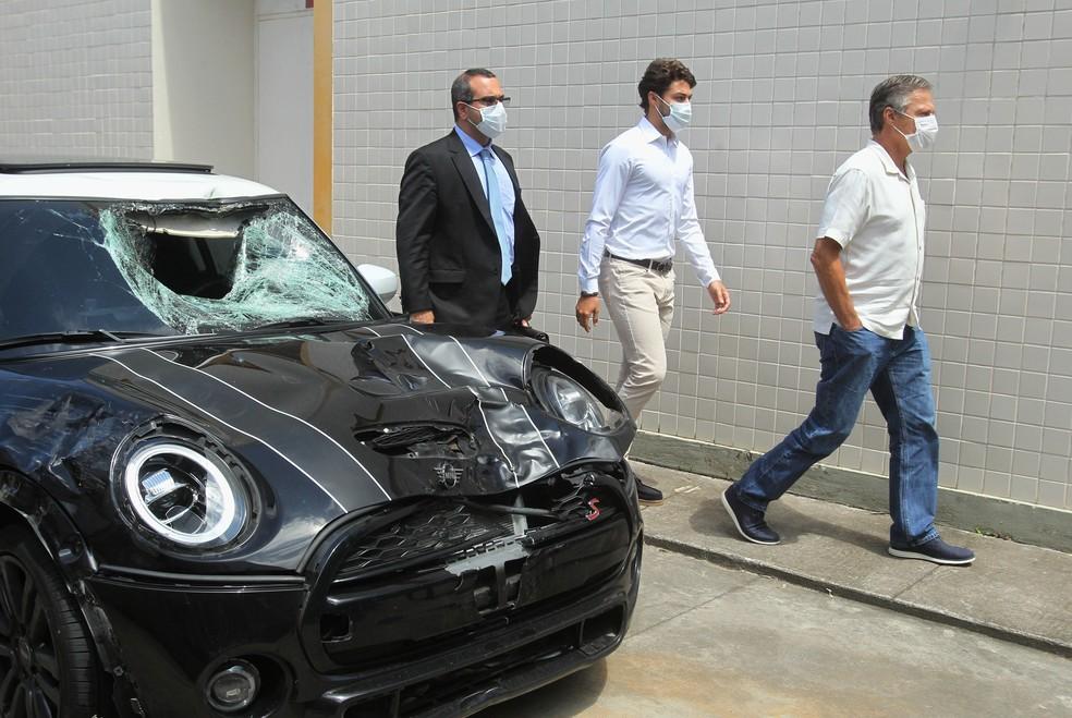 Marcinho prestou depoimento no 42º DP após atropelar casal - Foto: Stefan Radovicz/Agência O Dia