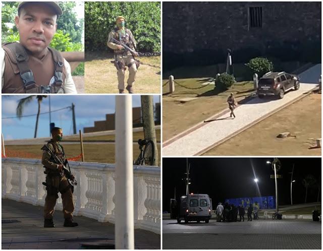 PM que surtou e atirou com tiros de fuzil para cima no Farol da Barra, em Salvador