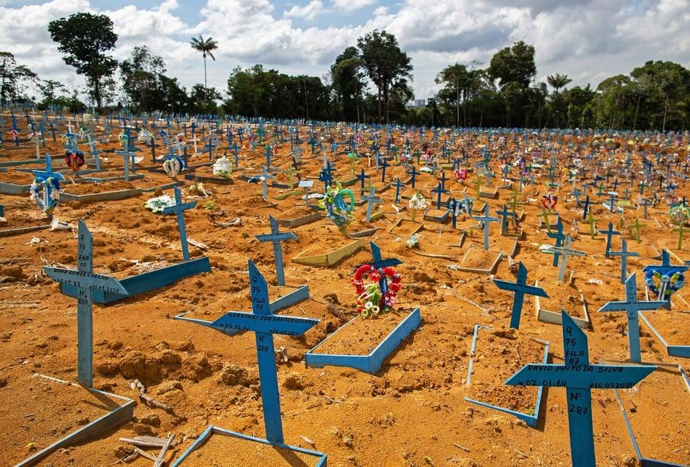 Área reservada para vítimas da Covid-19 no cemitério Nossa Senhora Aparecida em Manaus,— Foto: Michael Dantas/AFP
