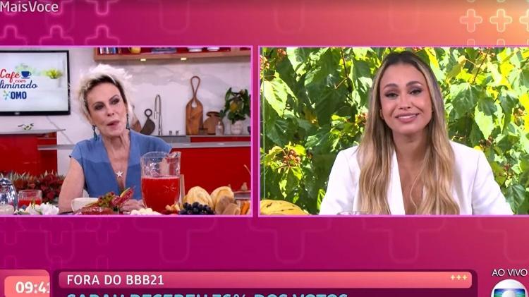 Sarah durante entrevista no Mais Você - Foto: Globo