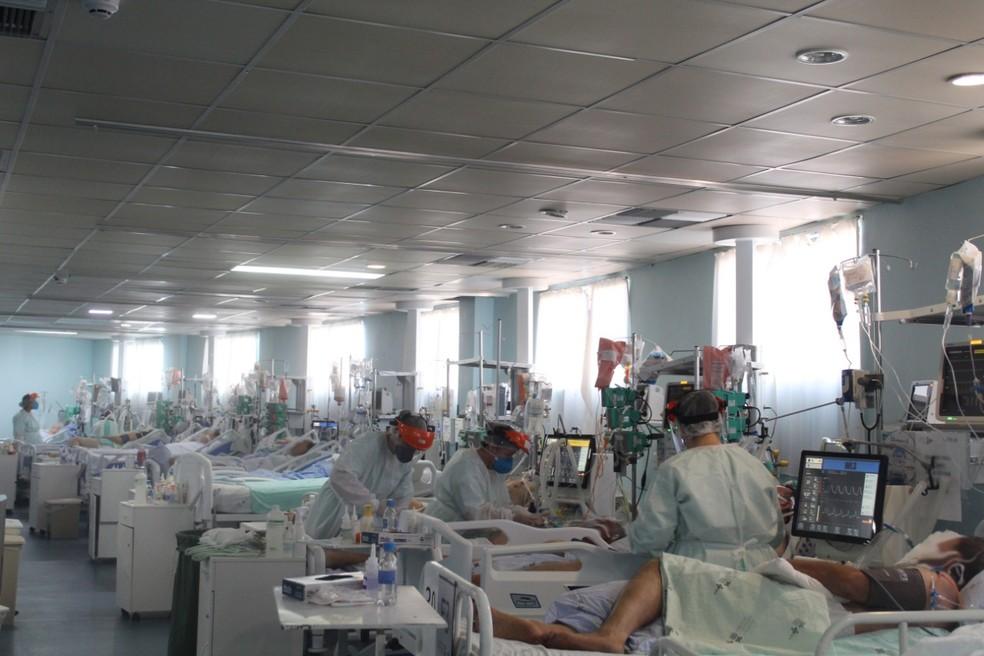 Leitos no Hospital Regional Terezinha Gaio Basso, em São Miguel do Oeste — Foto: Joice Kroetz/Assessoria de Imprensa HRTGB/Divulgação