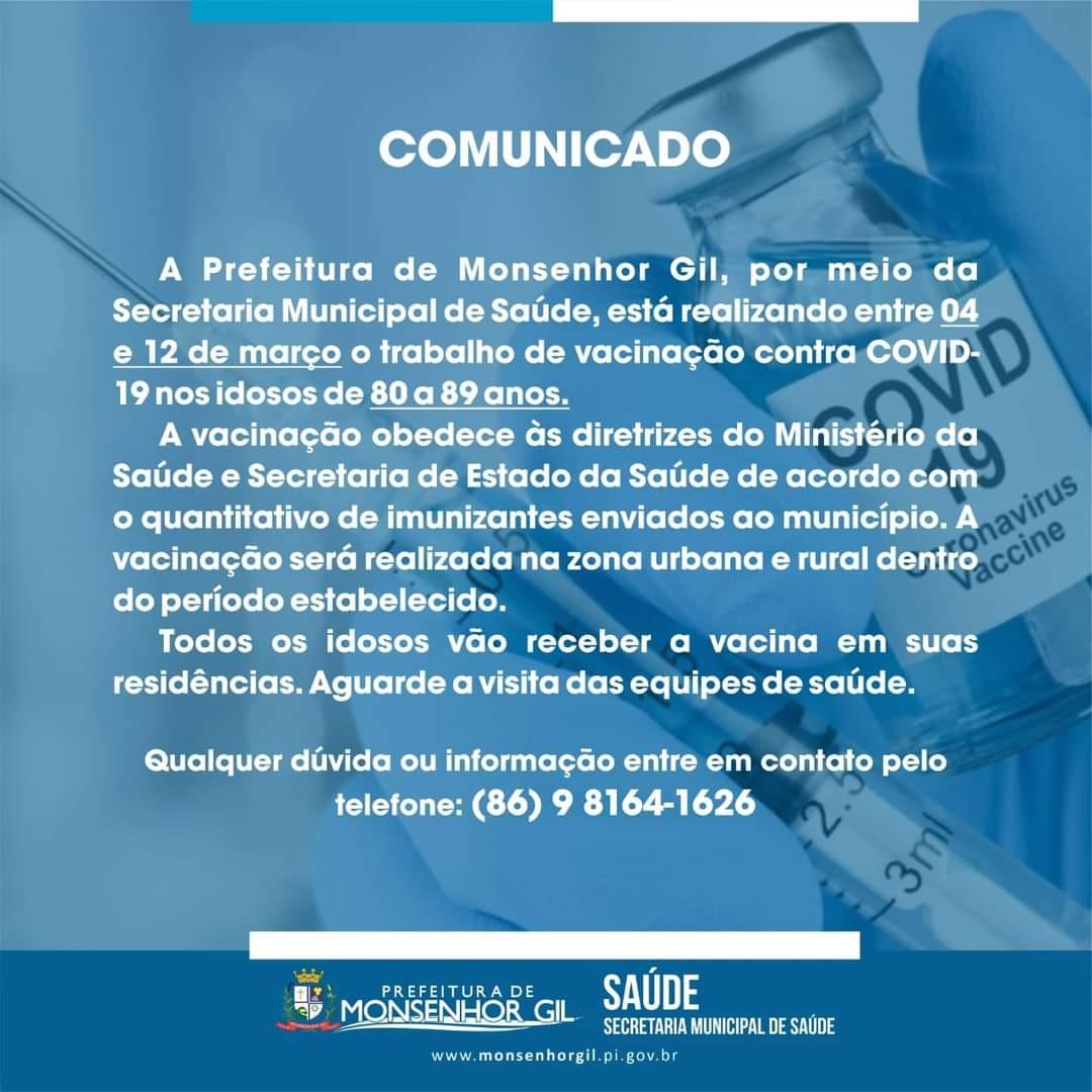 Mais uma etapa de vacinação contra a Covid-19 em Monsenhor Gil, destinada aos idosos - Imagem 1