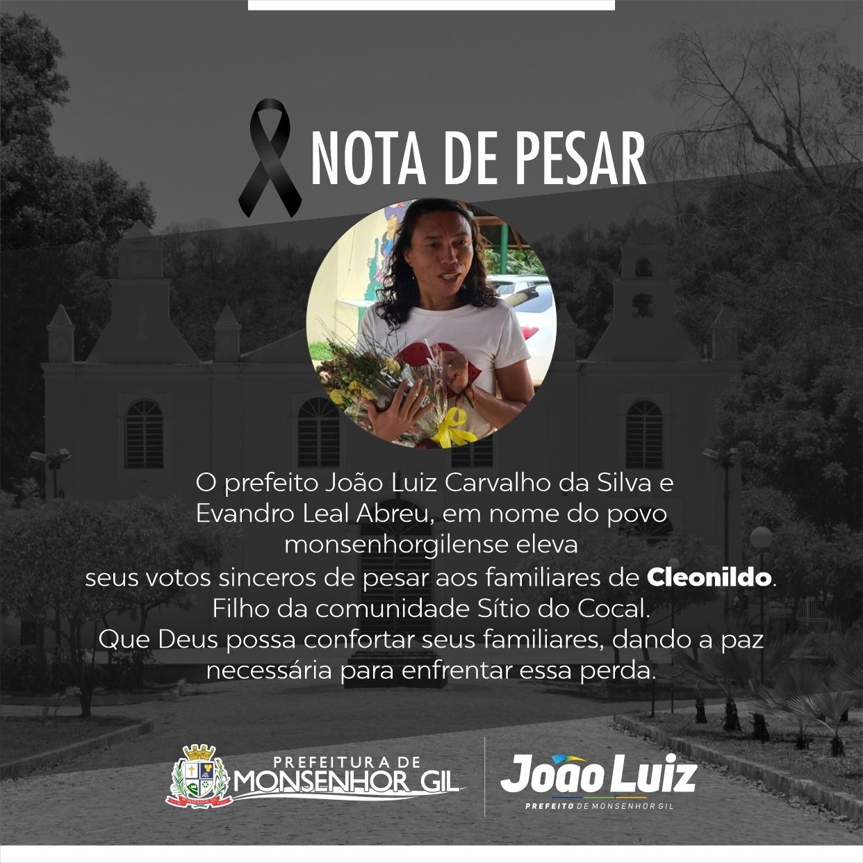 Prefeitura de Monsenhor Gil emite nota de pesar pela morte do Creunilton - Imagem 1