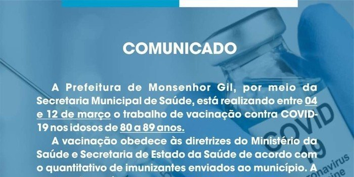 Mais uma etapa de vacinação contra a Covid-19 em Monsenhor Gil, destinada aos idosos