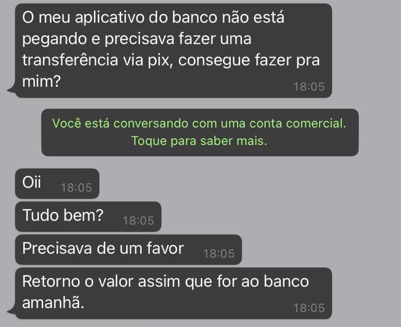 Mensagens são enviadas de contas do WhatsApp clonadas (Foto: Reprodução)