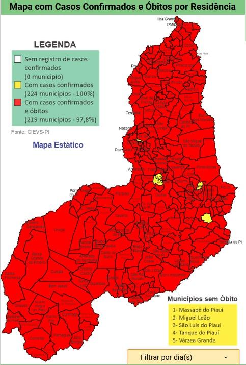 Apenas 5 municípios do Piauí não registram mortes por Covid-19