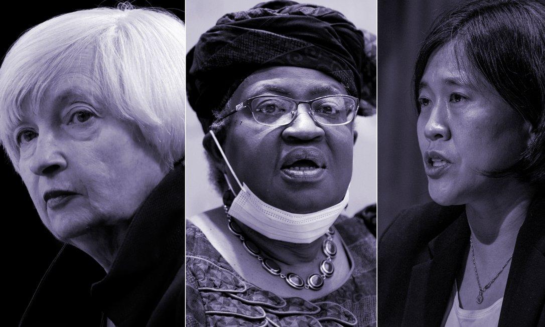 A partir da esquerda: Janet Yellen, secretária de Tesouro dos EUA; Ngozi Okonjo-Iweala, presidente da Organização Mundial de Comércio e Katherine Tai, representante comercial dos EUA Foto: o Globo