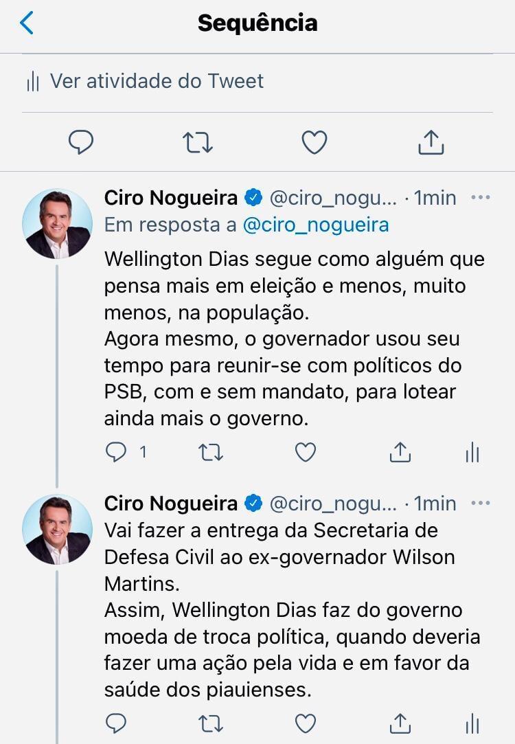 Ciro critica adesão de Wilson Martins e PSB à base governista