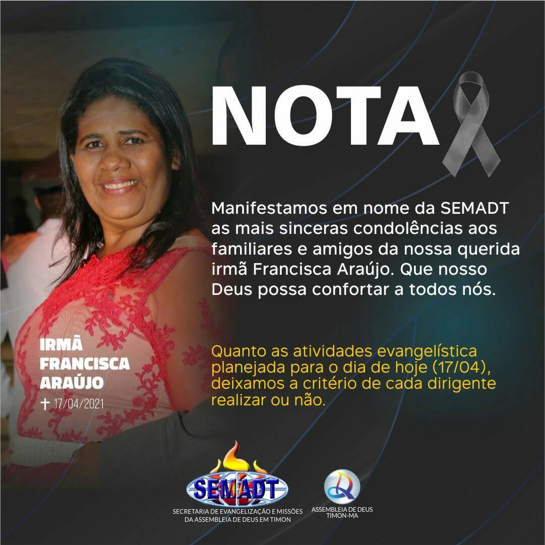 SEMADT publica nota de pesar pelo falecimento de Francisca Araújo - Foto: Reprodução