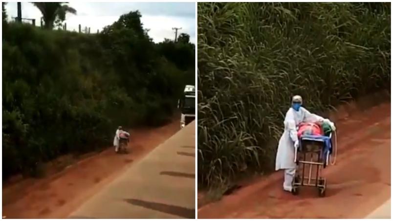 Paciente com Covid é empurrado por enfermeira em maca na Transamazônica bloqueada - Foto: Reprodução