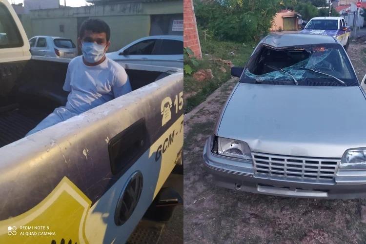Acusado de atropelar homem na Av. Duque de Caxias foi preso pela Guarda Municipal e veículo foi apreendido | FOTO: Reprodução