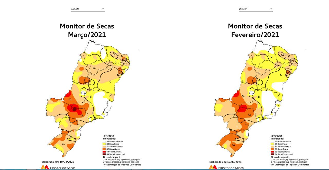 Comparativo da seca entre fevereiro de 2021 (à direita) e março de 2021 (à esquerda) | FOTO: Monitor de Secas