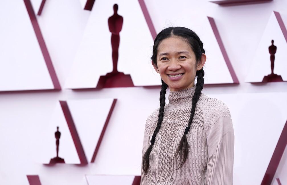 """Chloe Zhao, diretora de """"Nomadland"""", no Oscar 2021 — Foto: AP Photo/Chris Pizzello"""