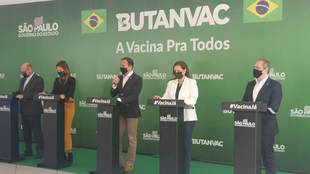 Governador de SP, João Doria, participa de coletiva nesta quarta-feira (28) na sede do Instituto Butantan, em SP. — Foto: Marina Pinhoni/G1