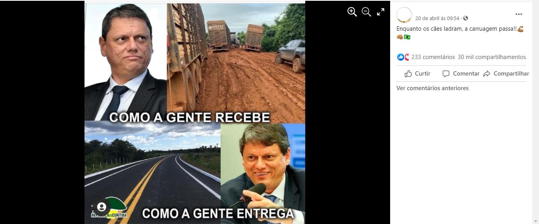 Imagem não é de uma obra federal e sim uma rodovia custeada pelo Governo do Piauí (Foto: Reprodução)