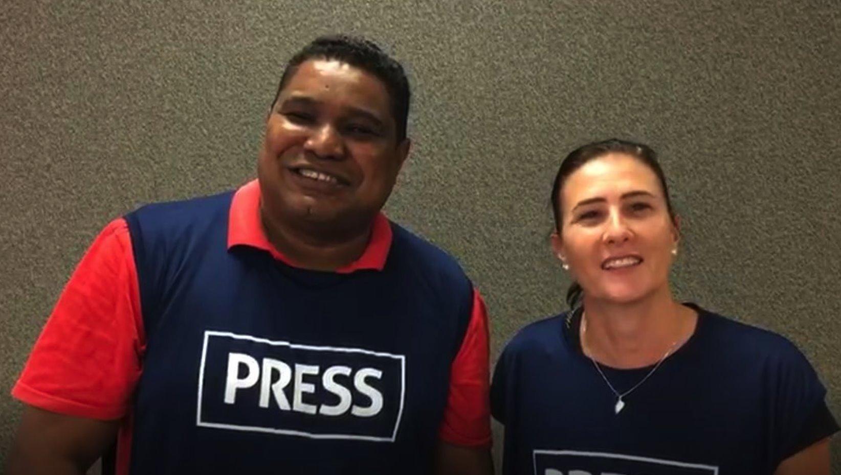 João Maia com a jornalista Luciana Tonnon, que deve o guiar nos Jogos
