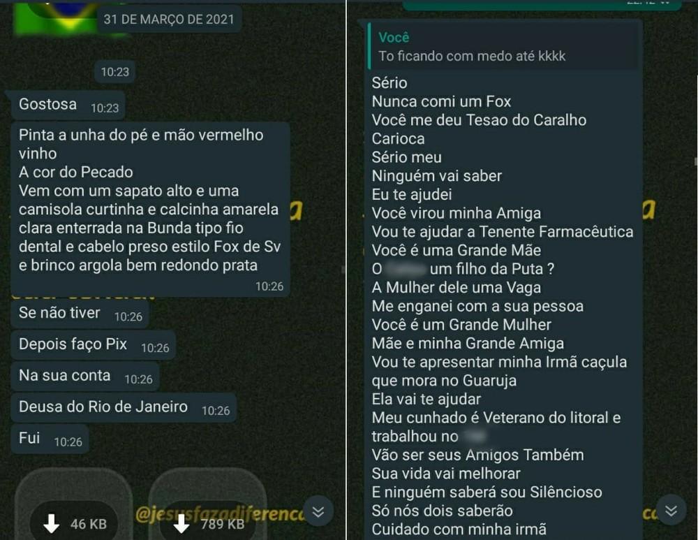 Em março, comandante conseguiu o telefone da soldado e passou a enviar mensagens de cunho sexual — Foto: G1 Santos