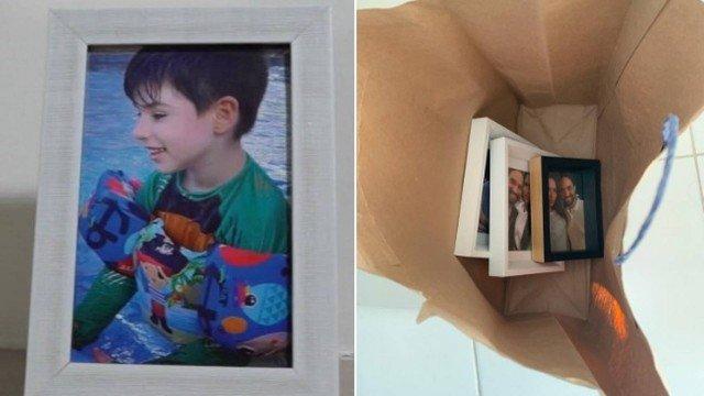 Porta-retratos foram encontrados em sacola (Foto: Reprodução)