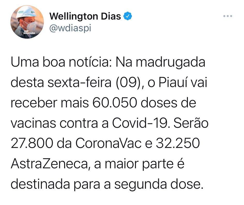 Wellington Dias anuncia chegada de nova remessa de doses contra a Covid-19 (Foto: Reprodução/ Instagram)