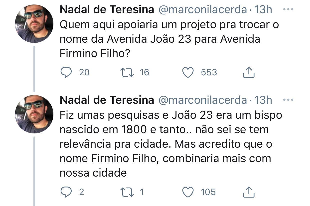 Ideia de homenagear Firmino com nome de avenida surgiu no Twitter. Imagem: Reprodução
