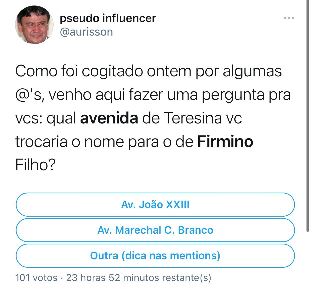 Até enquete foi aberta por usuário do Twitter questionando sobre a homenagem a Firmino. Imagem: Reprodução