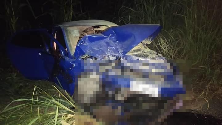 Carro onde se encontrava o pai da vereadora de Lagoinha que morreu em acidente/Lagoinhanoticias
