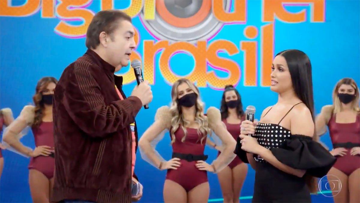 Faustão recebeu a campeã do BBB 21 em sua atração na Globo