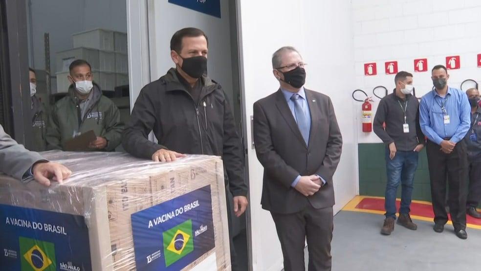 O governador João Doria e o secretário estadual da Saúde, Jean Gorinchteyn - Foto: Reprodução/TV Globo