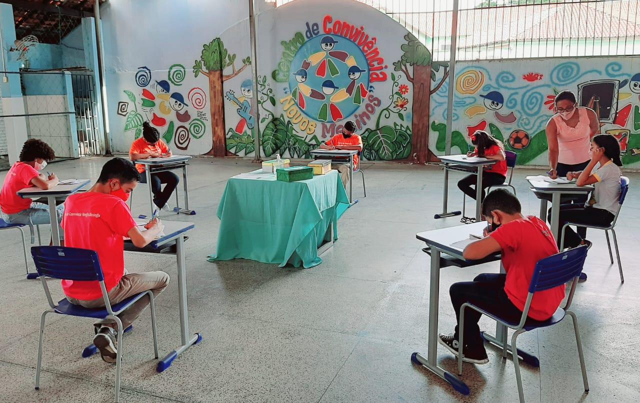 Assistidos pelo SCFV Novos Meninos em atividade de sensibilização | FOTO: Divulgação