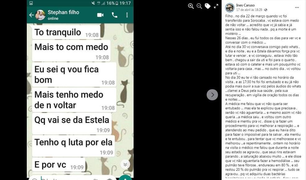 Stephan trocava mensagens com a mãe enquanto estava internado (Foto: Reprodução/ Facebook)