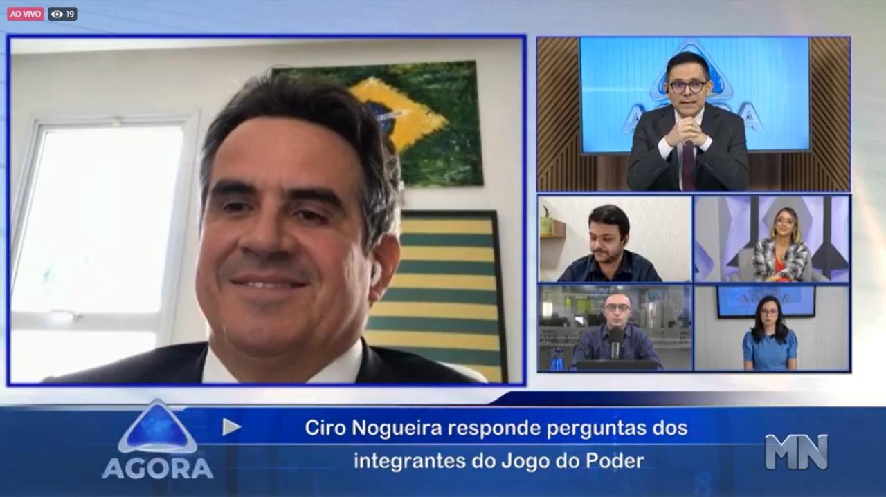 Ciro Nogueira concede entrevista ao Agora, da Rede Meio Norte